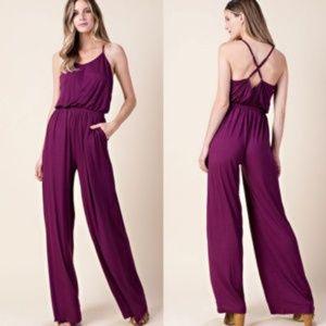 Pants - Wine color Criss cross back jumper